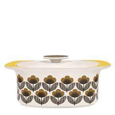 Orla Kiely: This ceramic casserole dish with Poppy Meadow print will compliment any stylish kitchen, whether retro or contemporary.    These ceramics are produced in Portugal and are handmade. Pieces may therefore display slightly varied characteristics.    PLEASE NOTE:  Ceramics are sold within the US only.    Weight: 7.83lbs  Volume: 143.71 fl oz