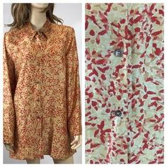 Sigrid Olsen Tops - SIGRID OLSEN LONG SLEEVE GOLD PATTERN SHIRT XL  #blouse #sigridolsenshirt #womensfashion #poshmark #shopping