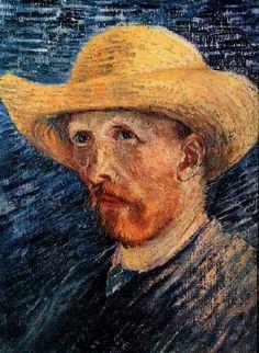 Self-Portrait with Straw Hat - Vincent van Gogh . Created in Paris in Summer, Located at Van Gogh Museum. Find a print of this Oil on Canvas Painting Vincent Van Gogh Pinturas, Vincent Willem Van Gogh, Van Gogh Portraits, Van Gogh Self Portrait, Rembrandt, Van Gogh Arte, Artist Van Gogh, Gauguin, Edouard Vuillard