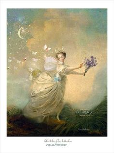 "Fine Art Matted Fairy Print 12x16"" 'Butterfly Wishes' By Charlotte Bird"