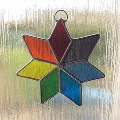 Star Stained Glass Suncatcher Rainbow Window Decoration Handmade  | eBay Fused Glass, Stained Glass, Bud Vases, Suncatchers, Mosaic, Windows, Stars, Decoration, Projects