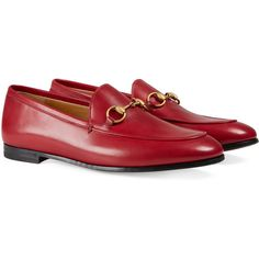 Gucci Jordaan Leather Loafer (€625) ❤ liked on Polyvore featuring shoes, loafers, gucci, moccasins & loafers, red, women, red leather loafers, red flat shoes, flat shoes and gucci moccasins