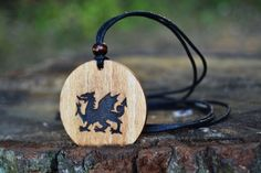 FREE SHIPPING  The Welsh Dragon Wooden Pendant  by TrendySnake