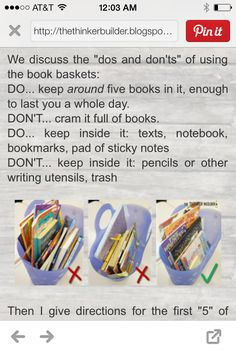 Book bin for individual student reading plans.