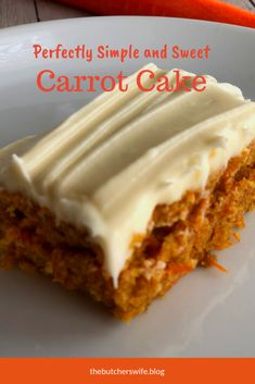 This carrot cake is moist and sweet and the cream cheese frosting is delicious! … This carrot cake is moist and sweet and the cream cheese frosting is delicious! Simple to make and yummy to eat! The perfect treat for the Easter Bunny! Carrot Cake Bars, Homemade Carrot Cake, Moist Carrot Cakes, Homemade Cake Recipes, Baking Recipes, Dessert Recipes, Carrot Cake Recipes, Simple Carrot Cake Recipe, Carrot Cake Muffins