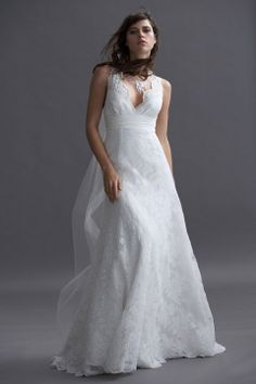 Gorgeous v-neck A-line chapel train bridal gowns