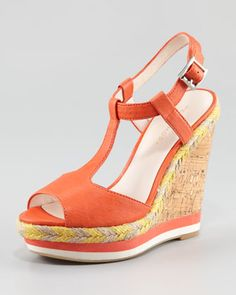 Lambskin Lacquered Cork Wedge Sandal at CUSP. $155