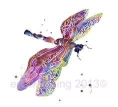 DRAGONFLY Art, mothers day, nature, purple dragonfly, dragonfly painting, teen girl gift on Etsy, $22.00