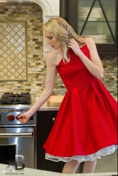 """One Shoulder Red """"Ava"""" Pleated Full Cirlcle Dress"""