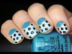Half moon dotticure Nail designs- Nails Polish Half moon manicure cute Easy (Long & Short Nails)