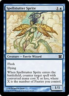 Spellstutter Sprite mtg Magic the Gathering Modern Masters blue common flying flash faerie creature card Manado, Mma, Magic The Gathering Karten, Mtg Altered Art, The Valiant, Collector Cards, Magic Cards, Modern Masters, Wizards Of The Coast
