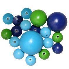 Buchenholz perlen mix blau/grün (50g)