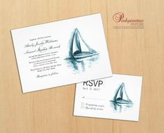 Elegant Watercolor Sailing Boat Wedding Invitation Customize this beautiful lovely wedding invitation designed with an original blue watercolor painting of a sailing boat.