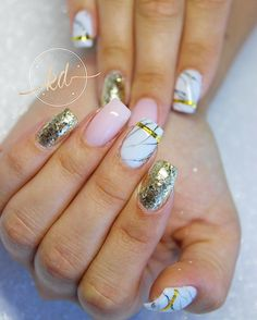 """99 Likes, 2 Comments - Katie Dutra - Nail Artist (@nailsbykatiedutra) on Instagram: """"✨ Marble + Gold Products Used: @lightelegancehq Bling Bling glitter gel @akzentz Luxio Polar &…"""""""