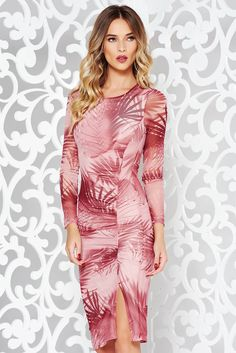 StarShinerS rosa dress clubbing pencil transparent fabric with print details with inside lining, print details, inside lining, tented cut, 3/4 sleeves, thin fabric, transparent fabric