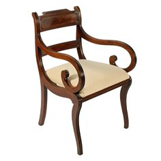 Regency antique mahogany sabre leg elbow or arm chair. This early century mahogany antique elbow chair is available to buy now online. Regency Furniture, Antique Furniture, Veneer Panels, Antique Chairs, Wishbone Chair, 19th Century, Upholstery, Armchair, Carving
