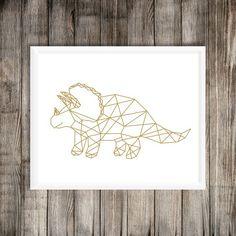 Geometric Dinosaur Art Print Dinosaur Printable T-Rex Geometric Drawing, Geometric Art, Dinosaur Art Projects, Dinosaur Printables, Dinosaur Tattoos, Gold Foil Print, Art Wall Kids, Nursery Prints, String Art