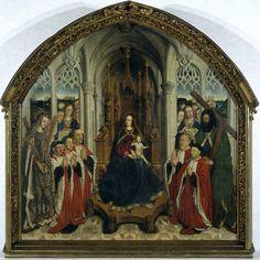 """LLUÍS DALMAU: """"Virgen dels Consellers"""" (1443-1445). Óleo sobre tabla. Realizada por el pintor oficial de Alfonso el Magnánimo por encargo del Consejo de Ciento, se halla fuertemente inspirada por la obra de Jan van Eyck (la virgen ha sido comparada con la de """"canónigo van der Paele""""), cuya obra conoció, sino trabajando en su mismo taller, durante su estancia en Flandes."""