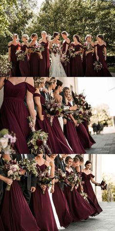 Elegant A-line Long Chiffon Bridesmaid Dress Wedding Party Dress lo., Elegant A-line Long Chiffon Bridesmaid Dress Wedding Party Dress long bridesmaid dresses, burgundy bridesmaid dresses, 2019 bridsmaid dre. Wedding Bridesmaid Dresses, Wedding Party Dresses, Party Wedding, Burgundy Bridesmaid Dresses Long, Burgundy Wedding Colors, Burgundy Color, Burgendy Wedding, Bride Dresses, Winter Wedding Bridesmaids
