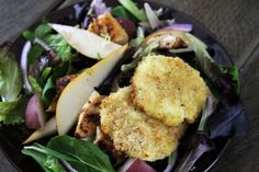 Crispy Goat Cheese Salad with Champagne Vinaigrette -- I'd definitely add the chicken too!