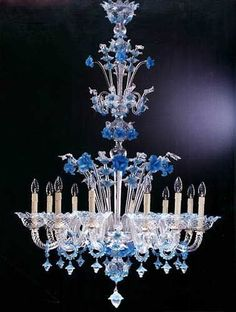 ♥ ~ ♥ Blue and White ♥ ~ ♥ Murano Chandelier Murano Chandelier, Antique Chandelier, Chandelier Lighting, Crystal Chandeliers, Crystal Palace, Lustre Murano, Style Salon, Lighting Concepts, Venetian Glass