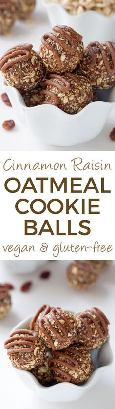 Cinnamon Raisin Oatmeal Cookie Balls (naturally vegan, gluten-free, dairy-free and 100% whole grain  – please click through to the recipe to see the dietary-friendly options)