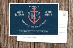 Custom Nautical Save the Date Postcard. $1.75, via Etsy.
