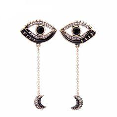 Crystal Eye Moon Earrings #chic #glam #allseeingeye #crystal #earrings #fashunline