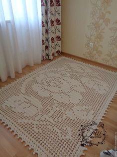 """Текстиль, ковры ручной работы. Ярмарка Мастеров - ручная работа. Купить Хлопковый вязаный ковер """"Скромность"""". Handmade. Белый, для пола"""