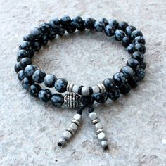 Obsydian gemstone 54 bead wrap mala bracelet