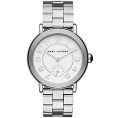 965bac3052 Buy Marc Jacobs MJ3469 Women's Riley Bracelet Strap Watch, Silver/White  Online… Montre