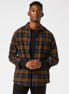 Brown and Navy Check Casual Shirt - Men's Shirts - Clothing - TOPMAN