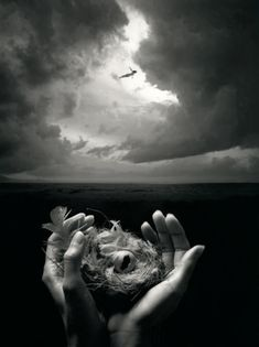 Free Spirit by Jerry Uelsmann. because who doesn't want the ability to fly? There's an ancient mythic quality to the photo and the heavy contrast suggests (at least in this case) trouble on the horizon. Jerry Uelsmann, Photomontage, Surrealism Photography, Art Photography, Creative Photography, Lucid Dreaming, No Photoshop, Ansel Adams, Photo Manipulation