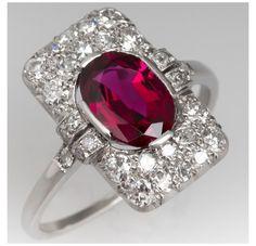 Vintage Art Deco Rings, Vintage Diamond Rings, Art Deco Diamond, Antique Ruby Rings, Ruby Ring Vintage, Ruby Jewelry, Art Deco Jewelry, Fine Jewelry, Jewelry Rings