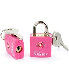 Miami CarryOn Tsa Approved Keyed Luggage Lock - Set of 2 - Pink