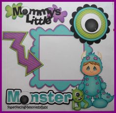 Premade Paper Pieced Mommy's Little Monster Boy Set for Scrapbook Pages-by Babs in Crafts, Crafts | eBay