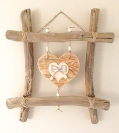 Original Mother& Day Gift Idea - Original Mother& Day Gift Idea - Driftwood Frame and Hearts of Mother . Twig Crafts, Rustic Crafts, Heart Crafts, Nature Crafts, Home Crafts, Diy And Crafts, Driftwood Frame, Driftwood Projects, Diy Wall Art
