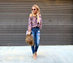 5 Styles to Keep for Fall - Jaclyn De Leon Style + purple floral off the  shoulder top + distressed denim + bohemian street style + fall outfit  inspiration + how to transition your wardrobe to the fall season + what  to wear in the fall + how to wear this seasons trends + boho style look
