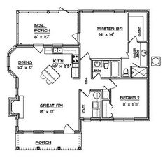 Floor Plans - 1 Story Traditional Home with 2 Bedrooms, 2 Bathrooms . - House Plans, Home Plan Designs, Floor Plans and Blueprints Unique Floor Plans, Small House Floor Plans, Cabin Floor Plans, House Plans One Story, Dream House Plans, Story House, The Plan, How To Plan, 2 Bedroom House Plans
