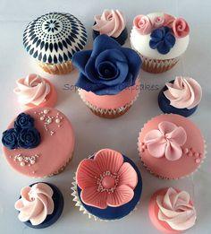 Navy, Coral Cupcakes