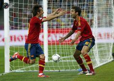 David Silva and Cesc Fàbregas celebrate Spain's 1st goal of the final. Spain vs Italy 4:0