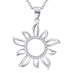 YFN Sterling Silver Chunky Crystal Sunshine Pendant Necklace for Women * Learn more by visiting the image link. (This is an affiliate link) #JewelryForWomen
