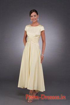 Formal Tea Length Dresses | dress, Formal empire scoop neck short sleeves Tea-length prom dress ...