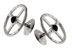 Brilliant Bijou Solid Sterling Silver Rhodium-Plated with MOP and Black Enamel Cuff Links