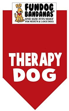 Dog Bandanas - BANDANA  Therapy Dog for Medium to Large Dogs  red -- Check out this great product. (This is an Amazon affiliate link)