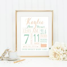 CUSTOM Baby Birth Stat Baby Birth Announcement Print Nursery Wall Art Baby Girl Nursery Print Coral and Mint Nursery Gold Nursery by blueelephantprints on Etsy https://www.etsy.com/listing/271884656/custom-baby-birth-stat-baby-birth