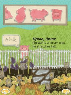 """""""A Garden for Pig"""" is an interactive book app available on Demibooks Storytime"""