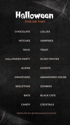 Halloween Instagram story template Instagram Story Questions, Instagram Story Ideas, Halloween Questions, Snapchat Question Game, Snapchat Questions, Fun Questions To Ask, Random Questions, Halloween Templates, Halloween Stories