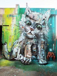 """Trash Cat"" by Bordalo II in Portugal"