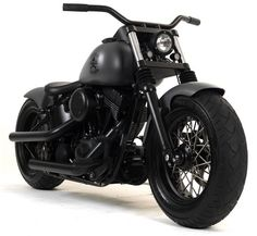 """The """"Black Tonal Conspiracy"""" by Russell Mitchell. A mean & moody matte black Bobber. Custom Motorcycles, Custom Bikes, Cars And Motorcycles, Custom Choppers, Triumph Motorcycles, Jaguar Sport, Harley Davidson Trike, Davidson Bike, Bobber Motorcycle"""